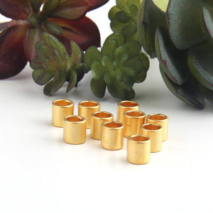 Gold, Circular Short Tubular Beads, Tube Beads, Tubular Beads, Gold Slider Tube Beads, 10 pieces // GB-246