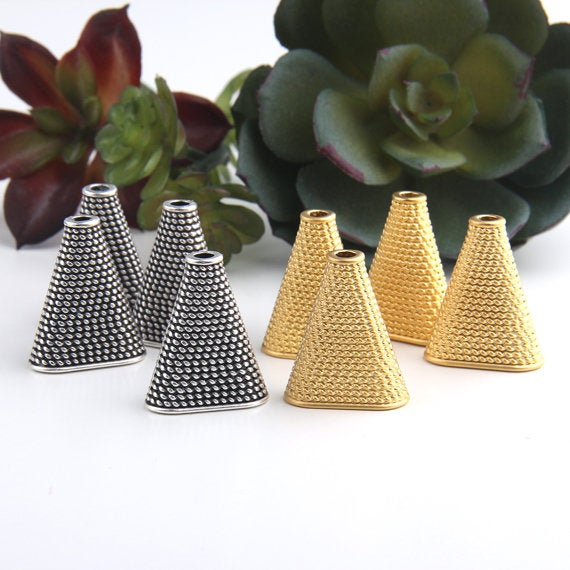 Gold, Triangle Tassel Caps, Textured Cord Cones, Silver Tassel Caps, Cord End Caps, 4 pieces // GF-176