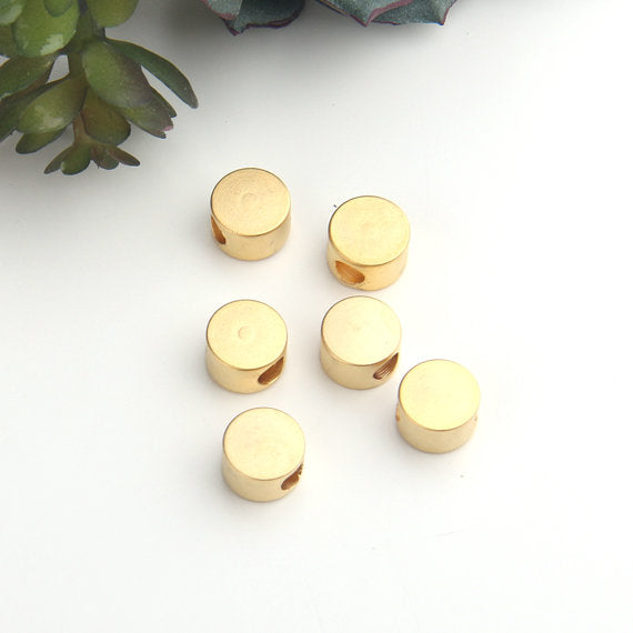 Gold, Round Smooth Bead Sliders, Gold Beads, Bead Spacers, 6 pieces // GB-247
