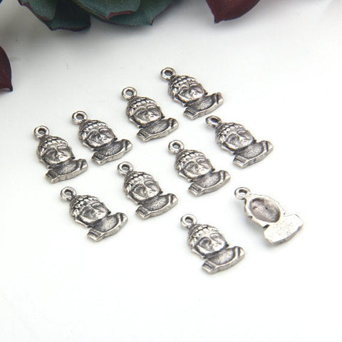Silver Mini Buddha Face Charms, Buddhal Charms, Yoga Jewelry Charms, Meditation Charms, 10 pieces // SCh-169