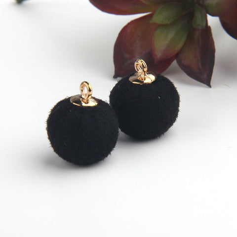 SALE, Black, Faux Suede Ball Charms, Ball Charms, Suede Ball Charms, 2 piecs // CH-012