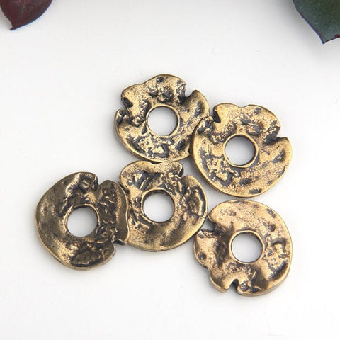 Bronze, Organic Round Flat Bead Spacers, Freeform Heishi Bead Sliders, Antique Bronze Plated, 5 pieces // ABB-038
