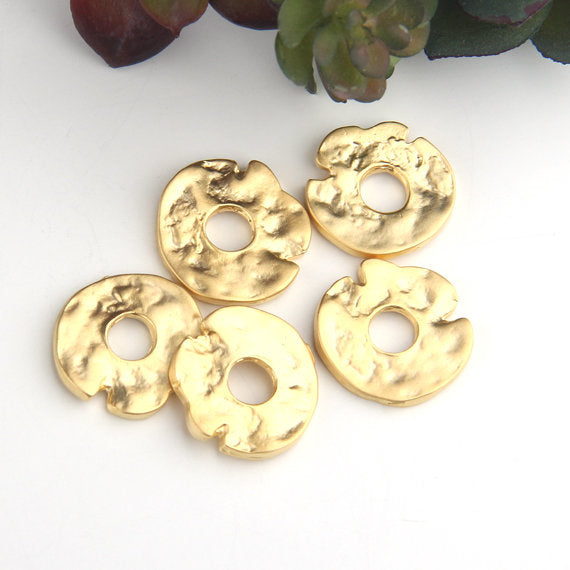 Gold, Organic Round Flat Bead Spacers, Freeform Heishi Bead Sliders, Antique Silver Plated, 5 pieces // GB-251