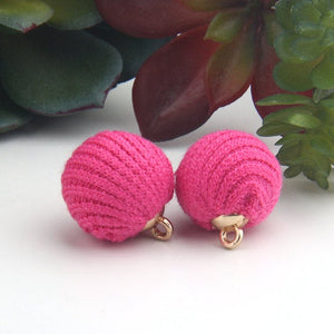SALE, Fuschia, Woven Fabric PomPom Charms, Fabric PomPoms, Sandal Charms, 2 pieces // CH-013