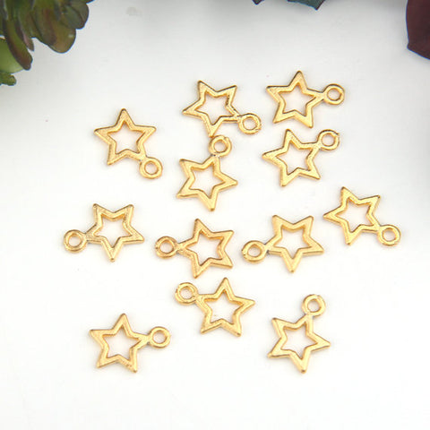 Gold Mini Star Charms, Gold Star Charms, Star Drop Charms, 12 pcs // GCh-282