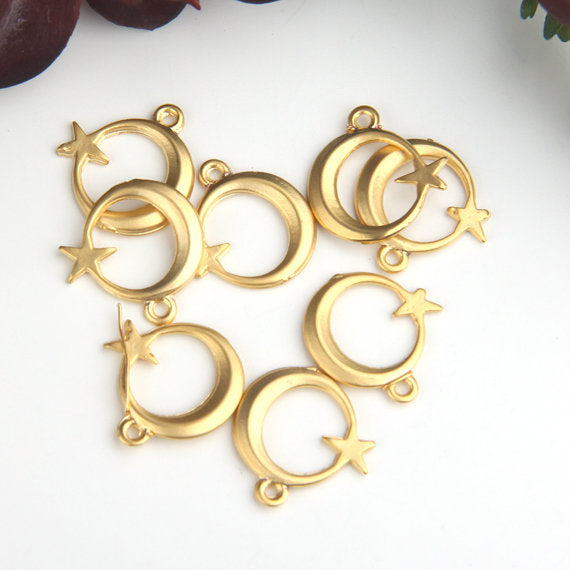 SALE, Gold Moon and Star Charms, Gold Moon Charms, Gold Star Charms, Celestial Charms, 8 pcs // GCh-283