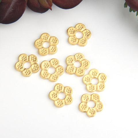 Gold Flower Beads, Gold Daisy Beads, Floral Bead Sliders, Spacer Beads, 8 pcs // GB-261