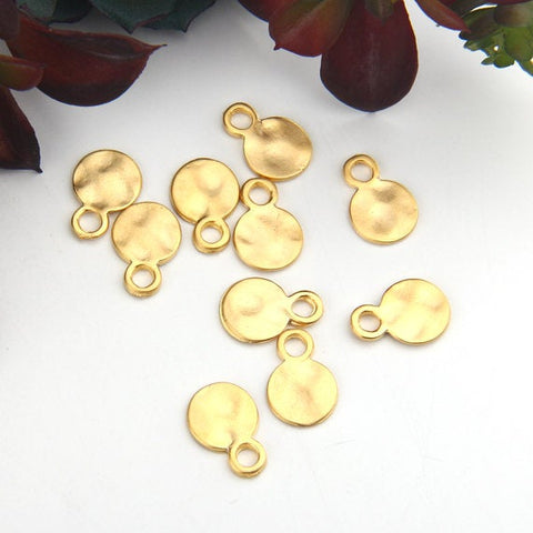 Gold, Flat Round Drop Charms, Hammered Disc Charms, 10 pcs // GCh-285