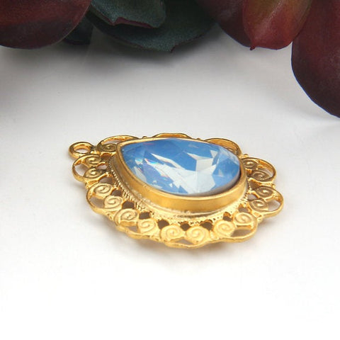 SALE, Pale Clear Blue, 22k Gold Plated Teardrop Filigree Pendant, 1 piece // GP-582