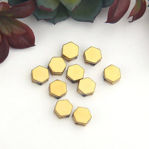 SALE, Shiny Dark Gold, Hexagon Shaped Hematite Beads, 10 pieces // BD-091
