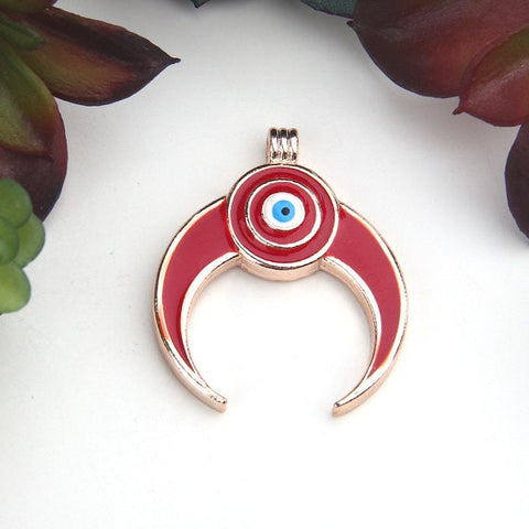 Red/Rose Gold, Enameled  Evil Eye Crescent, Moon Charms Pendant, 1 piece // GP-584