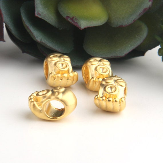 Gold, Tribal Mask Bead SLiders, Tribal Beads, Ethnic Slider Beads, Large Hole Beads, 4 pieces // GB-262