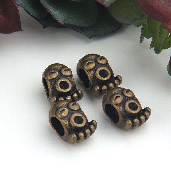 Bronze, Tribal Mask Bead SLiders, Tribal Beads, Ethnic Slider Beads, Large Hole Beads, 4 pieces //ABB-039