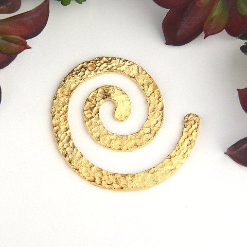 Gold, Hammered Spiral Metal Casting Pendant, Contemporary Jewelry, 1 piece // GP-590