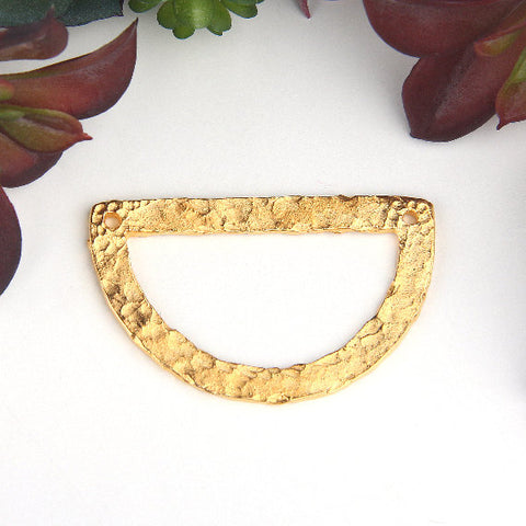Gold, Hammered Semi Circle shaped Metal Casting Pendant, Contemporary Jewelry, 1 piece // GP-587
