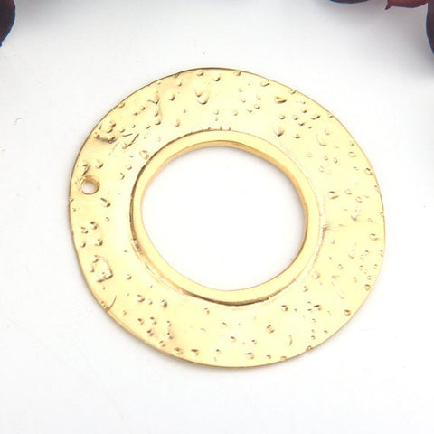 Gold, Round Flat Hammered Loop Pendant, Loop Pendant, Large Disc Pendant, 1 piece // GP-593