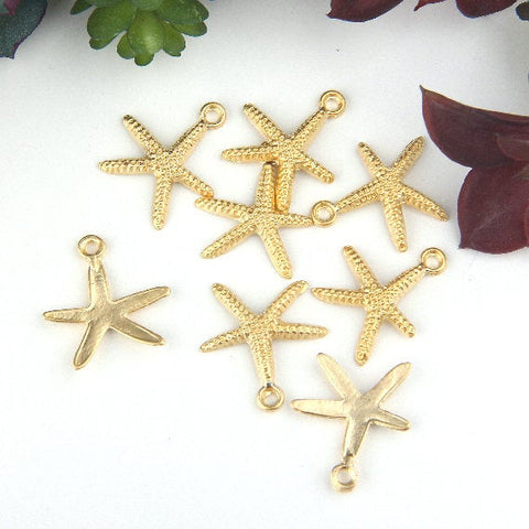 Matte Gold, Star Fish Charms, Beach Charms, Nautical Charms, 8 pieces // GCh-291