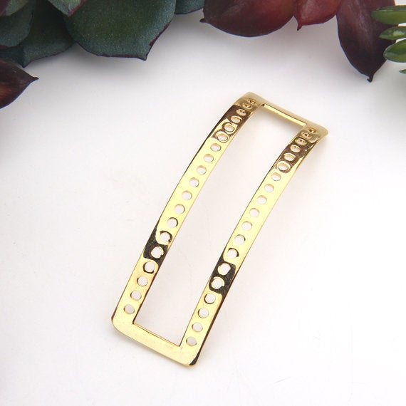 Shiny Gold, Curved, Geometric, Minimalist Multi link Bracelet Bar, 1 piece // GC-538