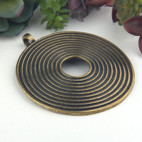 Antique Bronze, Extra Large Focal Swirl Pendant, Tribal Pendant, Spiral Pendant, 1 piece // ABP-116