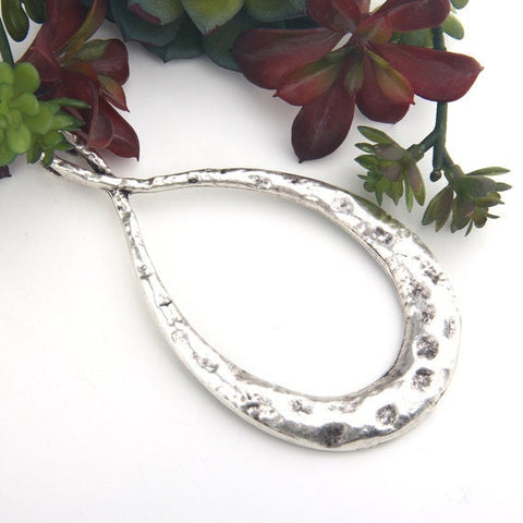 Silver, Extra Large Hammered Oval Pendant, 1 piece // SP-371