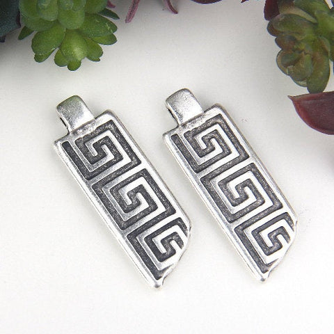 Silver, Rectangular Spiral Pendants, Spiral Pendants, Rectangle Swirl Pendants, 2 pieces // SP-374