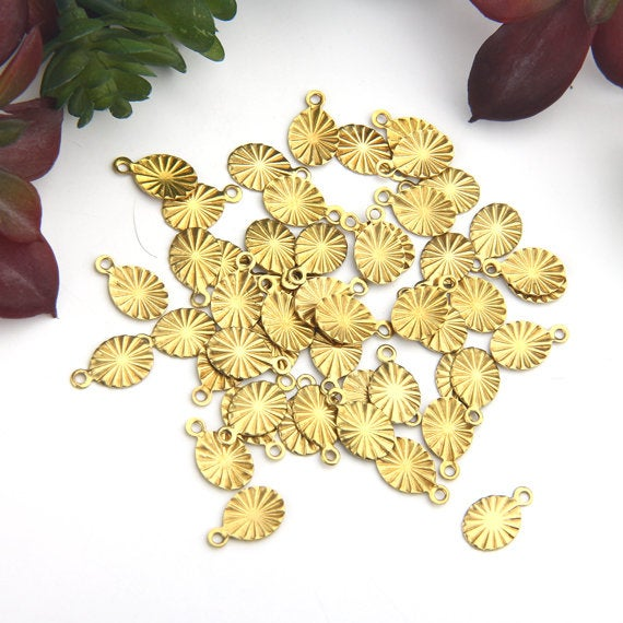Thin Oval Stamped Raw Brass Charms, Mini Thin Raw Charms, Antique Brass Charms, 50 pcs // RAW-056