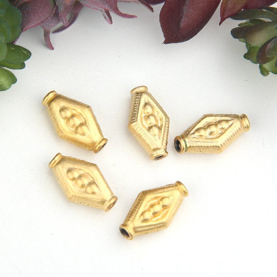 Gold, Diamond Shaped Tribal Pattern Beads, Ethnic Bead Sliders, 5 pieces // GB-273