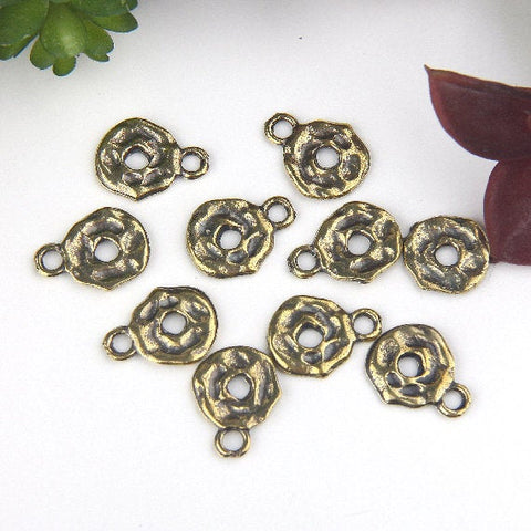 Antique Bronze, Organic Flat Disc Charms, Disc Charms, 10 pieces // ABCh-038