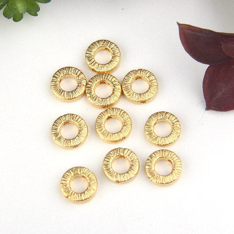 Gold, Donut Ring Beads, Donut Beads, 10mm, 10 pcs // GB-269