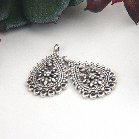 Silver, Ethnic Filigree Earring Dangle Connectors, Chandelier Earring Link, Multi Loop Connector, 2 pieces // SC-234