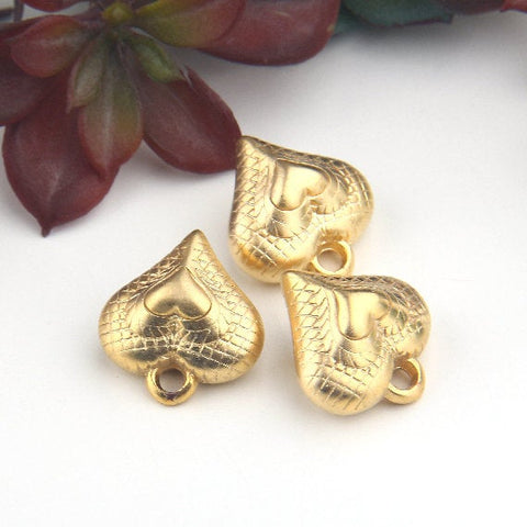 Gold, Acrylic Textured Puffed Heart Pendant, Puffed Heart Charms, 3 pieces // GP-602