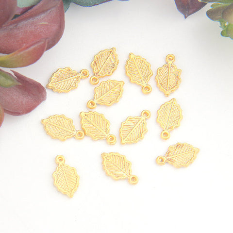 Gold, Mini Leaf Charms, Mini Gold Leaf Charms, 12pieces // GCh-297
