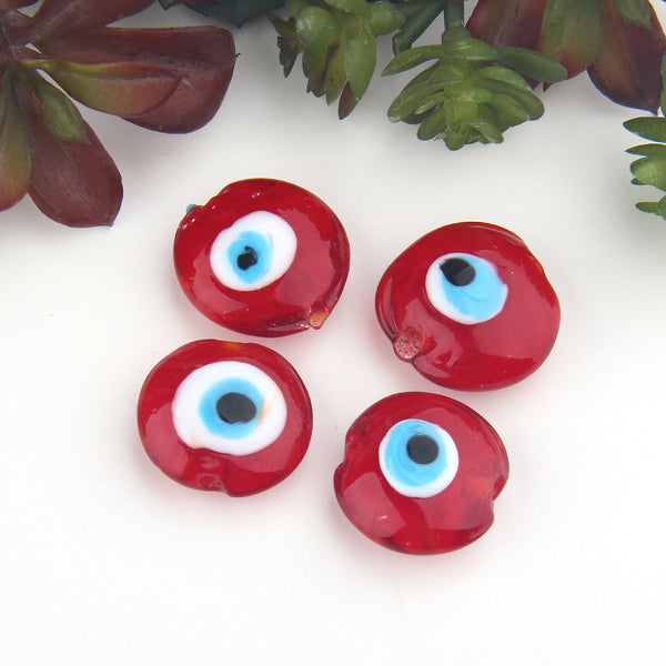 SALE, Red, Handmade Glass Turkish Evil Eye Beads, 4 pieces // BD-095
