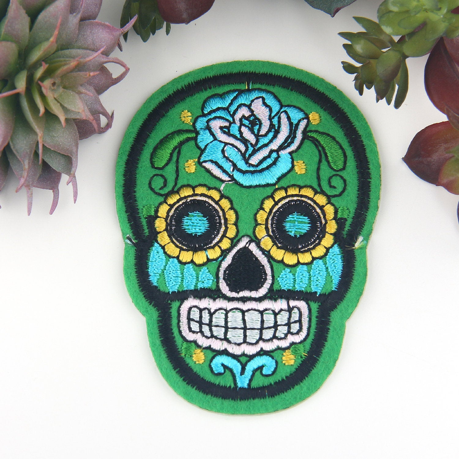 Green, Skull Applique, Skull Patch, Day of The Dead Patch, Halloween Iron-on Applique, Iron-on Patch, Emroidered Iron-on Applique, 1 Piece
