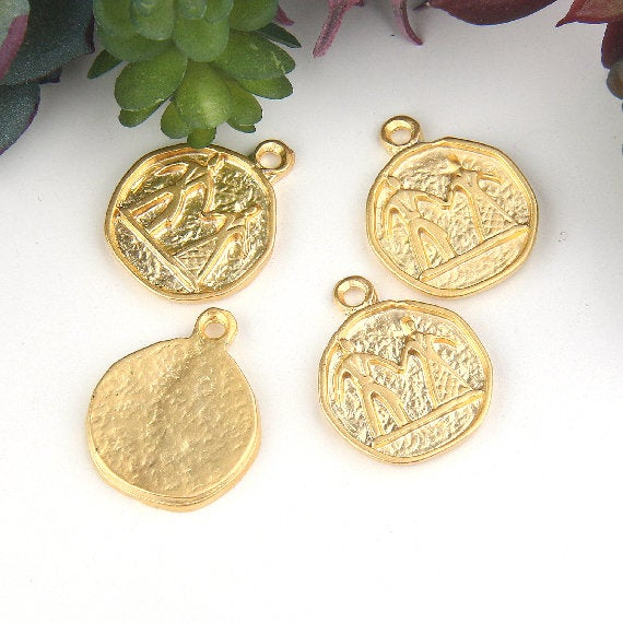 Gold, Replica Ancient Coin Charms, Ethnic Charms, Tribal Charms, Medallion Coin, 4 pieces // GCh-293