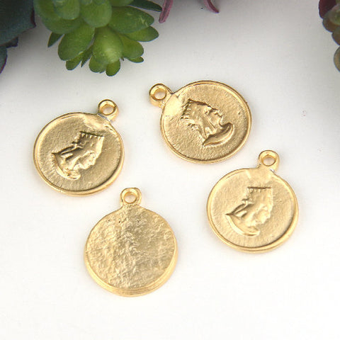 Gold, Replica Ancient Coin Charms, Ethnic Charms, Tribal Charms, Medallion Coin,  4 pieces // GCh-294