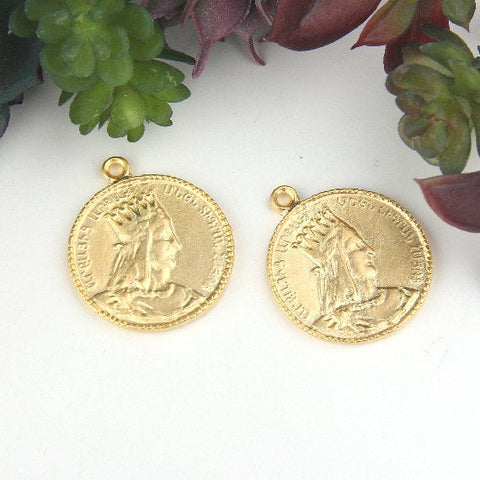 Gold, Replica Ancient Coin Pendants, Ethnic Pendants, Ancient King Pendants, Medallion Pendant, 2 pieces // GP-594