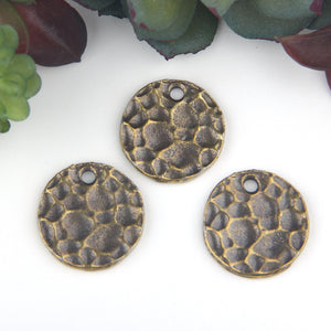 SALE, Antique Bronze, Round Flat Hammered Disc Charms, 21mm, 3 pieces // ABCh-040