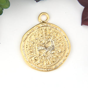 Gold, Replica Ancient Greek Coin Pendant, Coin Pendant, 1 piece // GP-612