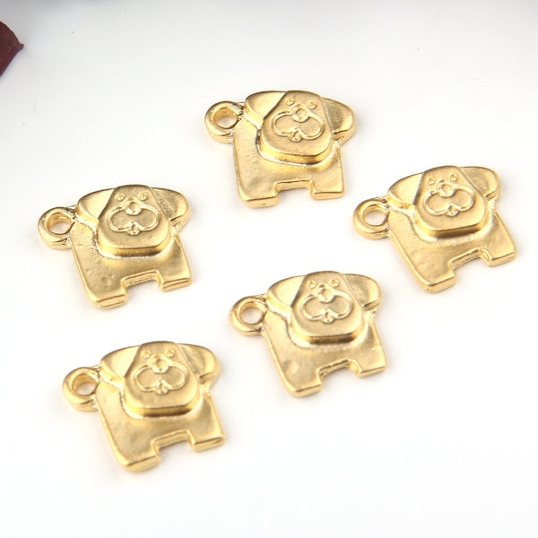 Gold, Animal Charms, Dog Charms, 5 pieces // GCh-300
