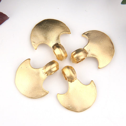 Gold, Tribal Charms, Ethnic Charms, Semi Circle Charms, 4 pieces // GCh-301