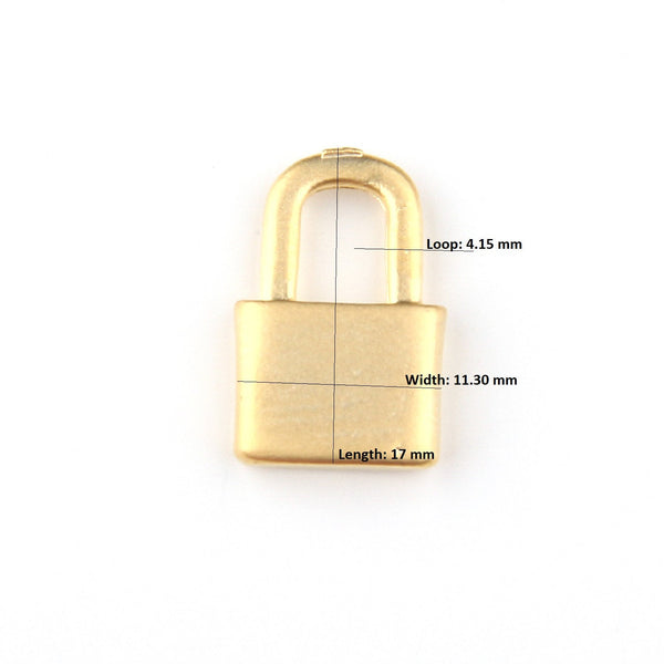 Gold, Small Lock Charms, Plain Lock Charms, 4 pcs // GCh-302