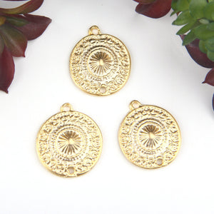Gold, Tribal Patterned Earring Connectors, Mandala Connectors, 3 pces // GC-553