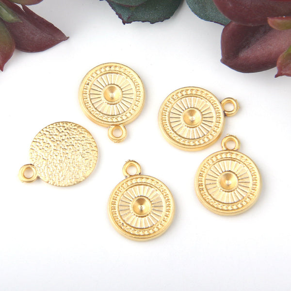 Gold, Round Textured Mini Drop Charms, Jewelry Findings, Metal Charms, 5 pieces // GCh-303