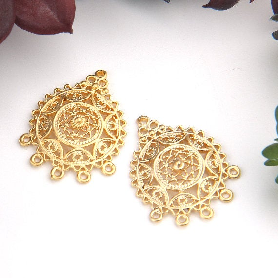Gold, Ethnic Filigree Earring Dangle Connectors, Chandelier Earring Link, Multi Loop Connector, 2 pieces // GC-550
