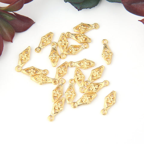 Gold, Mini Diamond Shaped Charms, Mini Heart Charms, Jewelry Supplies, Jewelry Findings, 20 pieces // GCh-306