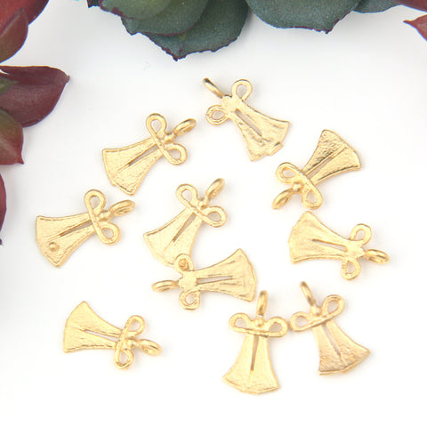 Gold, Mini Caftan Charms, Mini Gold Dress Charms, Jewelry Supplies, Jewelry Findings, 10 pieces // GB-278