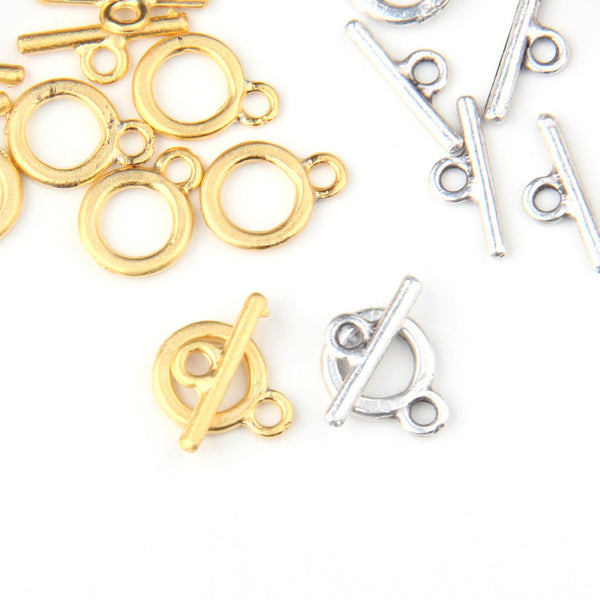Silver, Mini Toggle Clasps, T Clasp End Bars, Jewelry Closure, Bracelet Cloruse, Jewelry Findings, 6 pairs // SF-120