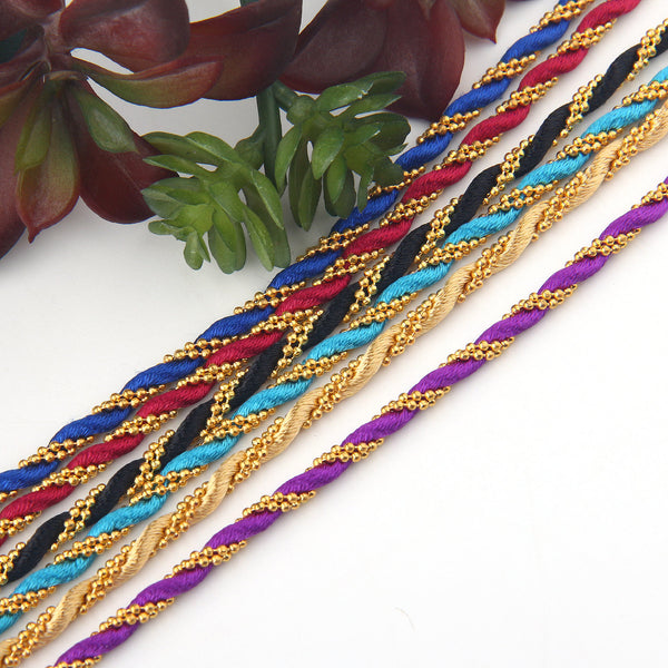 Twisted Chain Silk Cord, Satin Cord Chain, Chain Cord, Bracelet Chain, Necklace Chain Cord, EyeGlasses Chain, 52 cm, Royal Blue // CRD-037