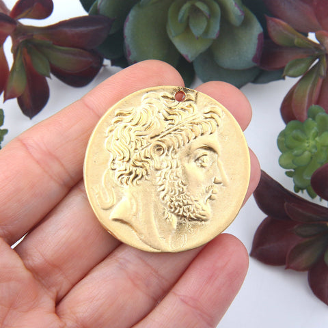 1 Large Replica Ancient Greek Coin Pendant, Old Greek Pendant,Roman Coin Pendant, 40mm // GP-618